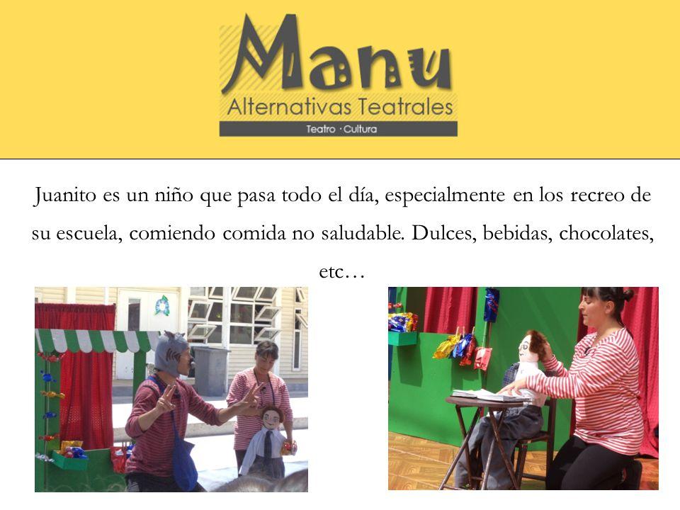 Resumen de la obra Juanito es un niño que pasa todo el día, especialmente en los recreo de su escuela, comiendo comida no saludable. Dulces, bebidas,