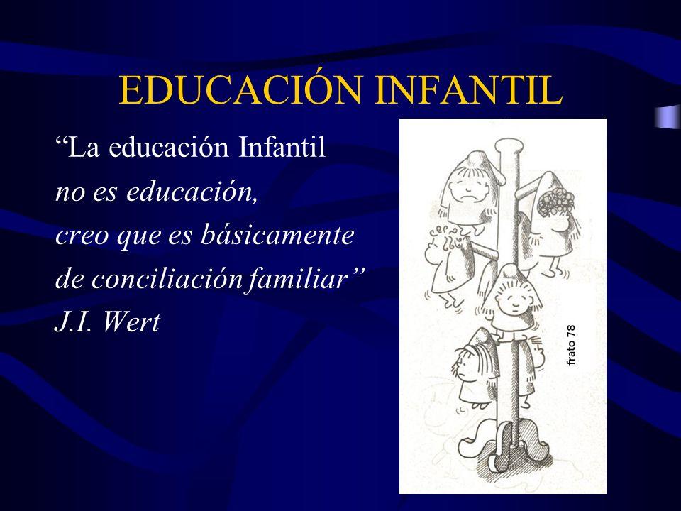 EDUCACIÓN INFANTIL La educación Infantil no es educación, creo que es básicamente de conciliación familiar J.I. Wert