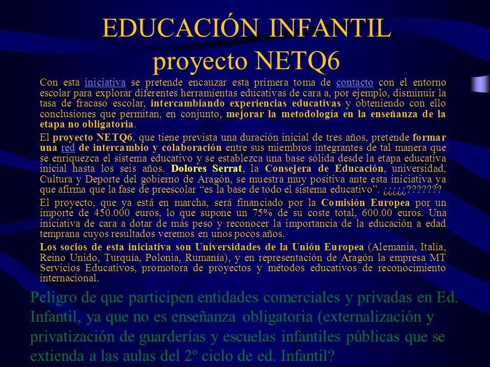 EDUCACIÓN INFANTIL proyecto NETQ6 Con esta iniciativa se pretende encauzar esta primera toma de contacto con el entorno escolar para explorar diferent