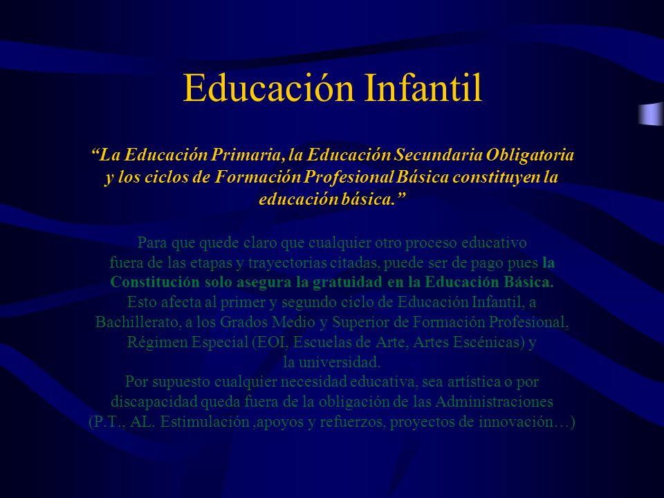 Educación Infantil La Educación Primaria, la Educación Secundaria Obligatoria y los ciclos de Formación Profesional Básica constituyen la educación bá