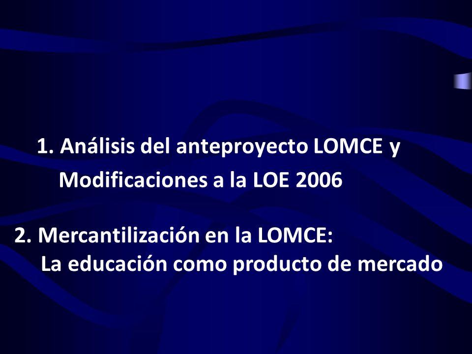 1. Análisis del anteproyecto LOMCE y Modificaciones a la LOE 2006 2. Mercantilización en la LOMCE: La educación como producto de mercado