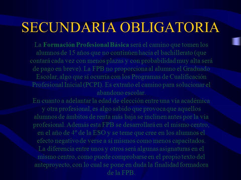 SECUNDARIA OBLIGATORIA La Formación Profesional Básica será el camino que tomen los alumnos de 15 años que no continúen hacia el bachillerato (que con