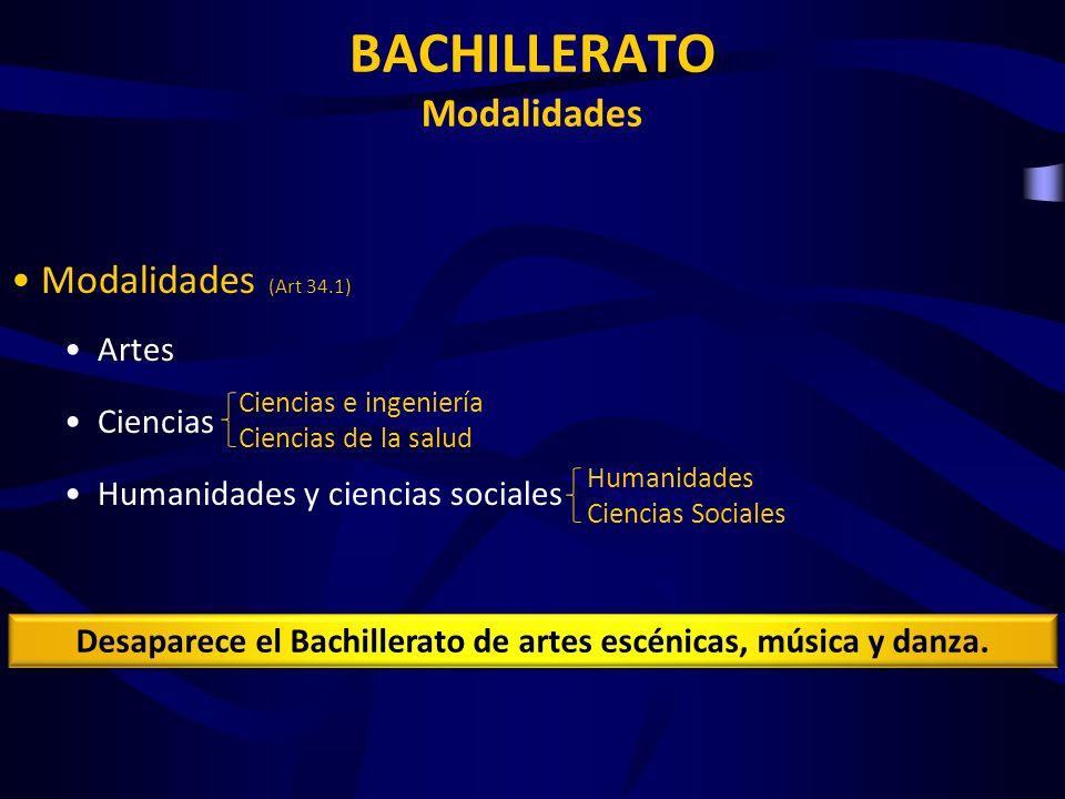 BACHILLERATO Modalidades Modalidades (Art 34.1) Artes Ciencias Humanidades y ciencias sociales Ciencias e ingeniería Ciencias de la salud Humanidades