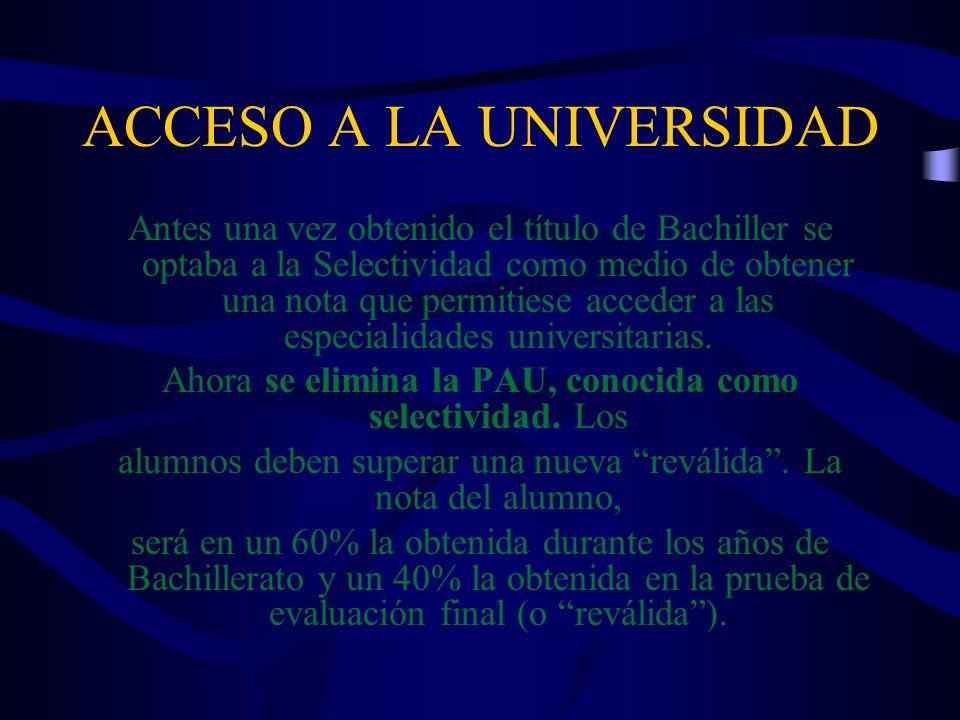ACCESO A LA UNIVERSIDAD Antes una vez obtenido el título de Bachiller se optaba a la Selectividad como medio de obtener una nota que permitiese accede