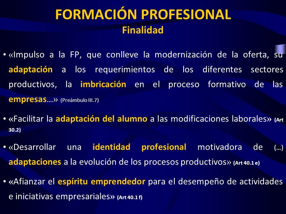 « Impulso a la FP, que conlleve la modernización de la oferta, su adaptación a los requerimientos de los diferentes sectores productivos, la imbricaci