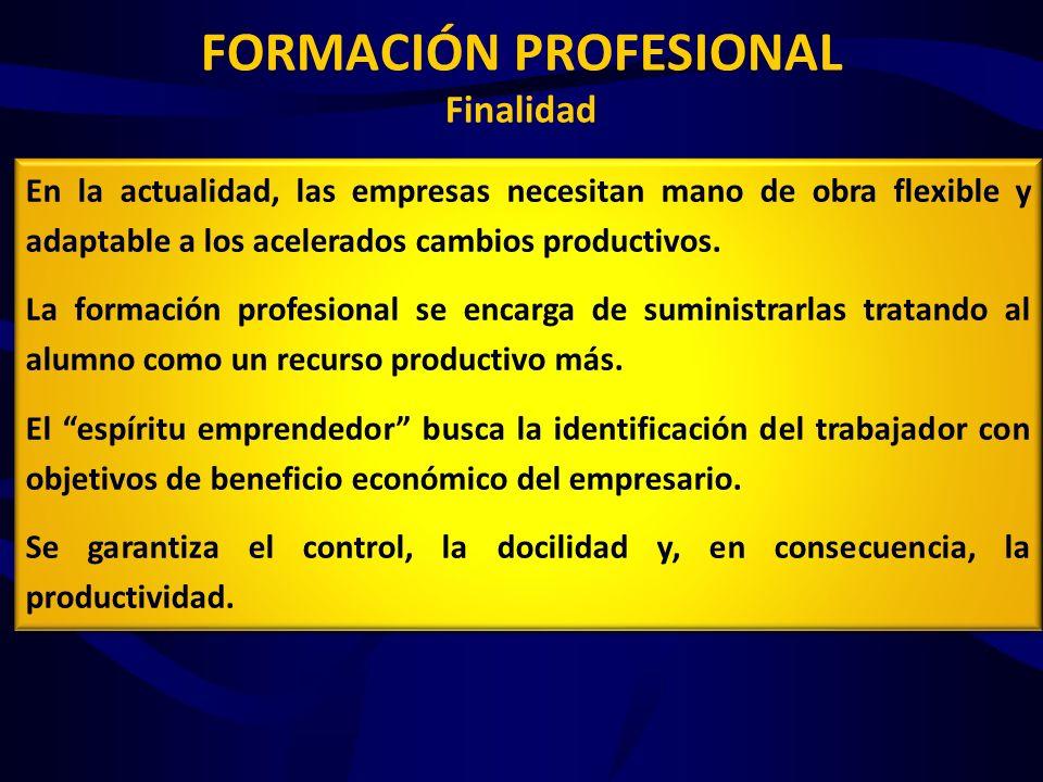 FORMACIÓN PROFESIONAL Estructura y Contenido Estructura en ciclos (Art 39.3) FP Básica, Grado Medio y Grado Superior Organización de la oferta Se rige por el Catálogo de Cualificaciones Profesionales (Art 39.4) Definido por: Administraciones educativas + Corporaciones locales y Agentes económicos y sociales y (Art 42) Implantación FP Dual (Art 42.2) 1) Incremento del periodo de formación en los centros de trabajo sin que esa actividad tenga naturaleza laboral 2) Formación teórico-práctica en empresas
