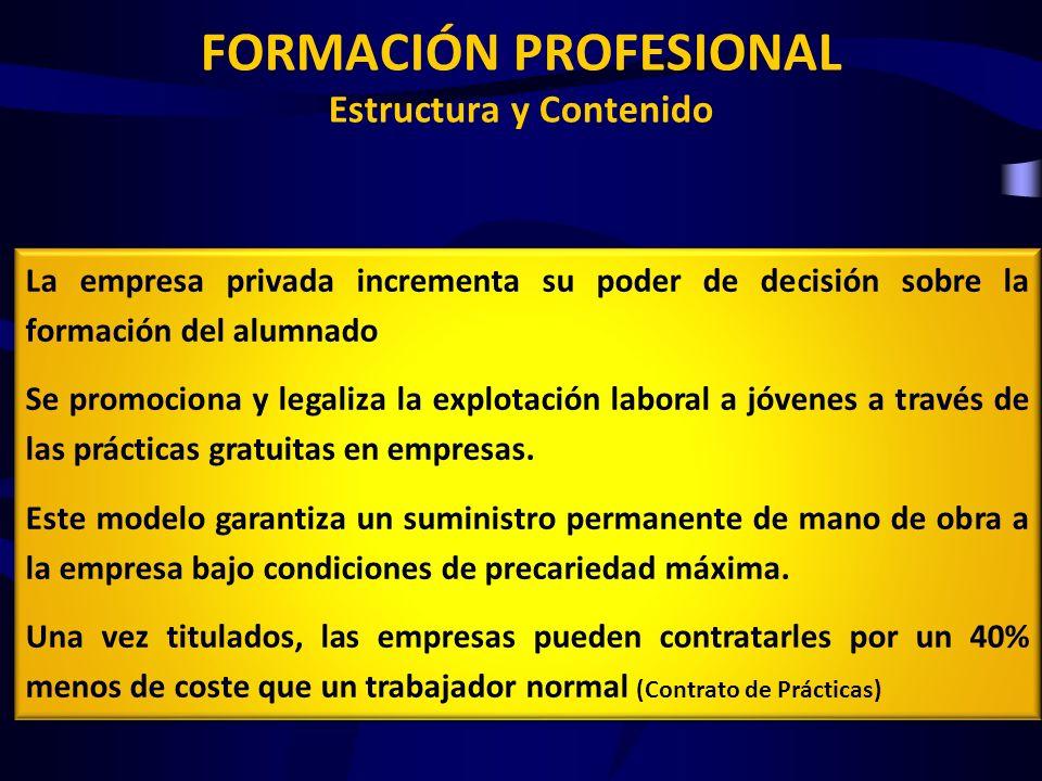 FORMACIÓN PROFESIONAL Estructura y Contenido La empresa privada incrementa su poder de decisión sobre la formación del alumnado Se promociona y legali