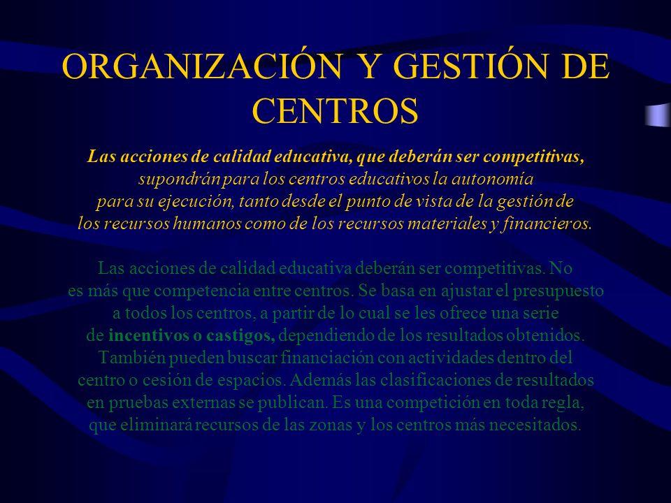 ORGANIZACIÓN Y GESTIÓN DE CENTROS EDUCATIVOS Equiparación de centros privados y concertados La LOMCE introduce la consideración de SISTEMA EDUCATIVO como el « conjunto de AGENTES PÚBLICOS Y PRIVADOS que desarrollan funciones de regulación, financiación o prestación del servicio de la educación en España » (Art 2.bis) Se blindan los conciertos para los centros de educación diferenciada por sexos (Art 84.3) Los conciertos educativos para el ciclo de FP Básica pasan de tener « carácter singular » a tener « carácter general » (Art.