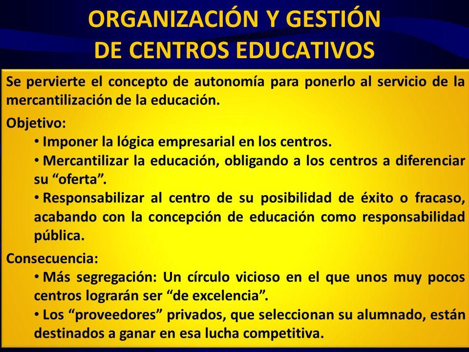 ORGANIZACIÓN Y GESTIÓN DE CENTROS EDUCATIVOS Autonomía y calidad educativa (Art 122.4) Se promoverá «la especialización de los centros en los ámbitos curricular, funcional o por tipología del alumnado» que comprenderá «actuaciones tendentes a la excelencia, a la formación docente, a la mejora del rendimiento», premiadas con «medidas honoríficas tendentes al reconocimiento de los centros» «Las acciones de calidad educativa, que deberán ser competitivas, supondrán para los centros educativos la autonomía para su ejecución en cuanto a recursos humanos, materiales y financieros» «Potenciación de la función directiva»: El director de centro dispondrá de autonomía para adaptar los recursos humanos (…).