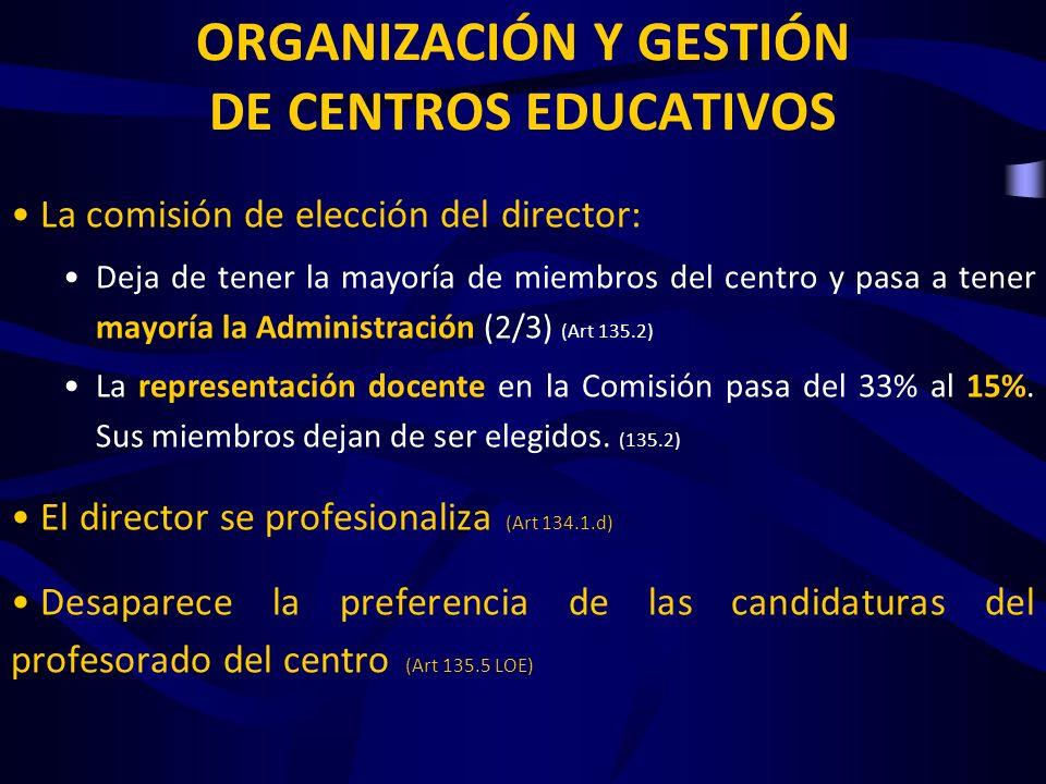 EVALUACIÓN DEL SISTEMA EDUCATIVO «Implantación de pruebas de evaluación a nivel nacional (…) que señalizarán (…) los niveles de exigencia, introduciendo elementos de certeza, objetividad y comparabilidad de resultados» (Preámbulo III.2) La aplicación y calificación de las pruebas se atribuye a «especialistas externos» (Art 21.3, 29.5 y 38.3) En la finalidad de la evaluación del sistema educativo, se elimina la prohibición de utilizar los resultados para establecer clasificaciones de los centros (Art 140.2 LOE) «El Ministerio (…) publicará los resultados de los centros» (Art 147.2)