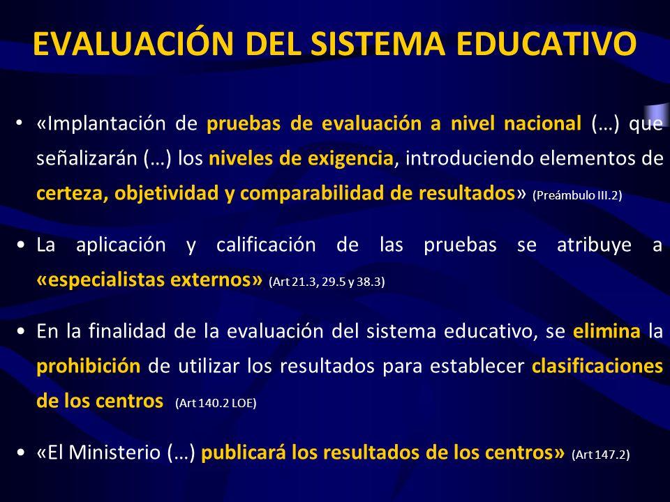 EVALUACIÓN DEL SISTEMA EDUCATIVO «Implantación de pruebas de evaluación a nivel nacional (…) que señalizarán (…) los niveles de exigencia, introduciendo elementos de certeza, objetividad y comparabilidad de resultados» (Preámbulo III.2) La aplicación y calificación de las pruebas se atribuye a «especialistas externos» (Art 21.3, 29.5 y 38.3) En la finalidad de la evaluación del sistema educativo, se elimina la prohibición de utilizar los resultados para establecer clasificaciones de los centros (Art 140.2 LOE) «El Ministerio (…) publicará los resultados de los centros» (Art 147.2) LAS EVALUACIONES ESTANDARIZADAS IMPIDEN CONSIDERAR LAS DIFERENTES CONDICIONES DE PARTIDA DE LOS CENTROS.