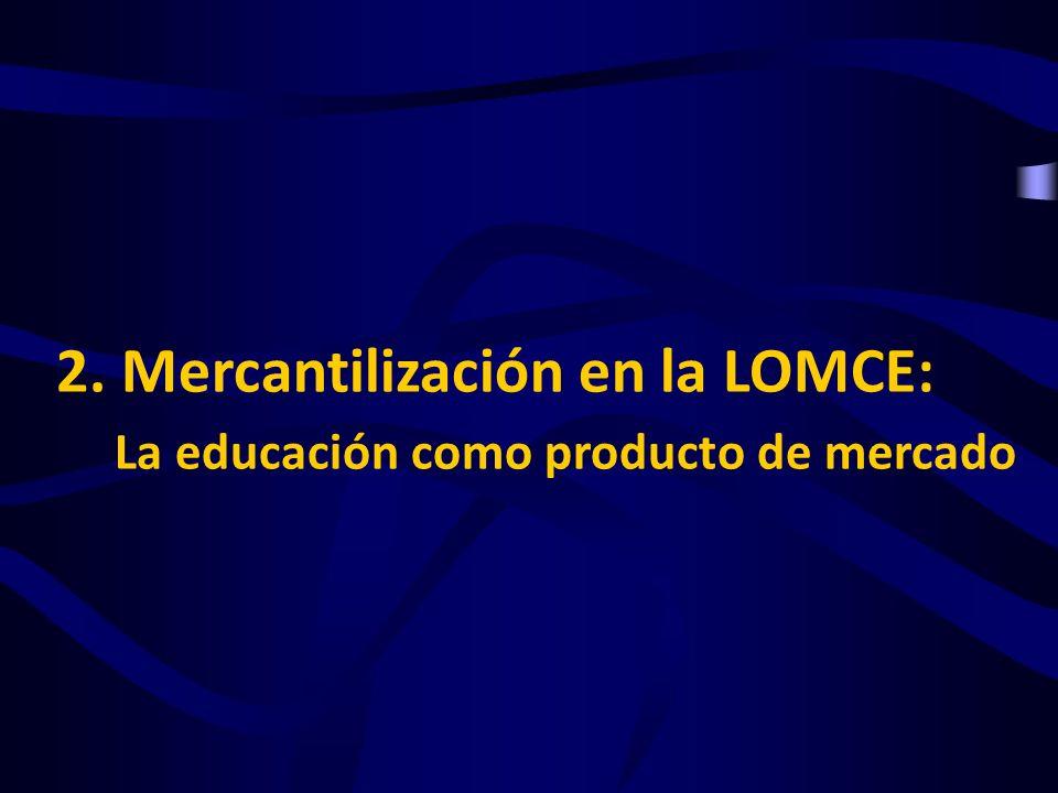 LA EDUCACIÓN COMO PRODUCTO DE MERCADO DIFERENCIACIÓN DEL PRODUCTO COMPETITIVIDAD ENTRE CENTROS COMPETITIVIDAD ENTRE CENTROS AUTONOMÍA A través de ESPECIALIZACIÓN de centros DIRECTOR-GESTOR MERCANTILIZACIÓN EN LA LOMCE Con la que se obtiene Para lo que se requiere GeneraExige Qué pretende CONVERTIR la EDUCACIÓN EN NEGOCIO Centro educativo = Empresa CONVERTIR la EDUCACIÓN EN NEGOCIO Centro educativo = Empresa consecuencia Desmantelando Fortaleciendo Ed.