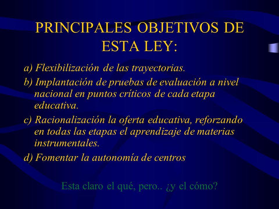 PRINCIPALES OBJETIVOS DE ESTA LEY: a) Flexibilización de las trayectorias. b) Implantación de pruebas de evaluación a nivel nacional en puntos crítico