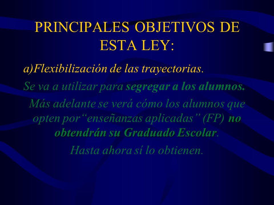 PRINCIPALES OBJETIVOS DE ESTA LEY: a)Flexibilización de las trayectorias. Se va a utilizar para segregar a los alumnos. no obtendrán su Graduado Escol