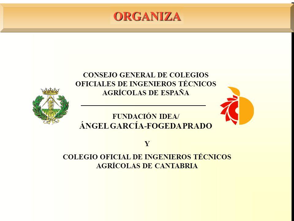 FUNDACIÓN IDEA/ ÁNGEL GARCÍA-FOGEDA PRADO CONSEJO GENERAL DE COLEGIOS OFICIALES DE INGENIEROS TÉCNICOS AGRÍCOLAS DE ESPAÑA ORGANIZA Y COLEGIO OFICIAL