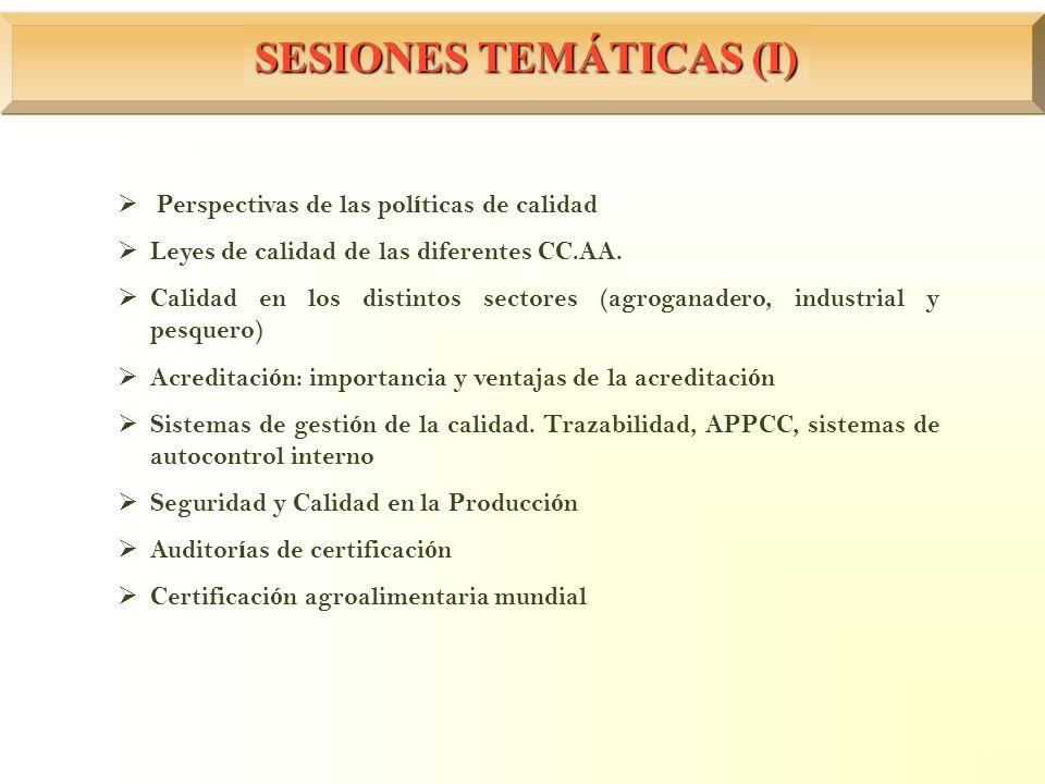 SESIONES TEMÁTICAS (I) Perspectivas de las pol í ticas de calidad Leyes de calidad de las diferentes CC.AA. Calidad en los distintos sectores (agrogan