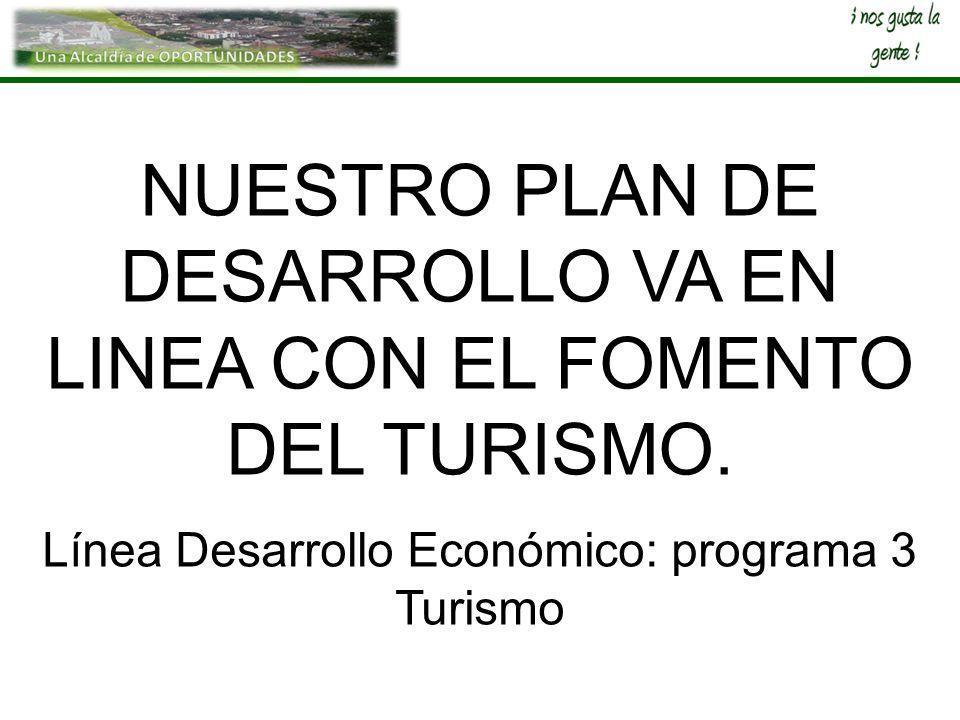 NUESTRO PLAN DE DESARROLLO VA EN LINEA CON EL FOMENTO DEL TURISMO. Línea Desarrollo Económico: programa 3 Turismo