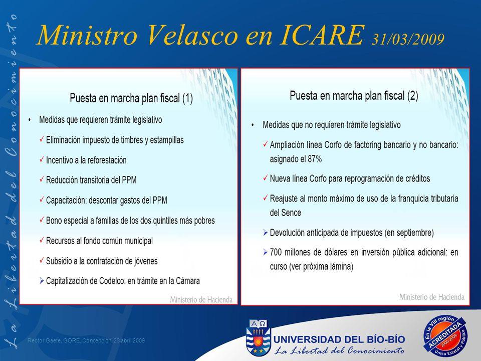 Ministro Velasco: ICARE 31/03/2009 Rector Gaete, GORE, Concepción, 23 abril 2009