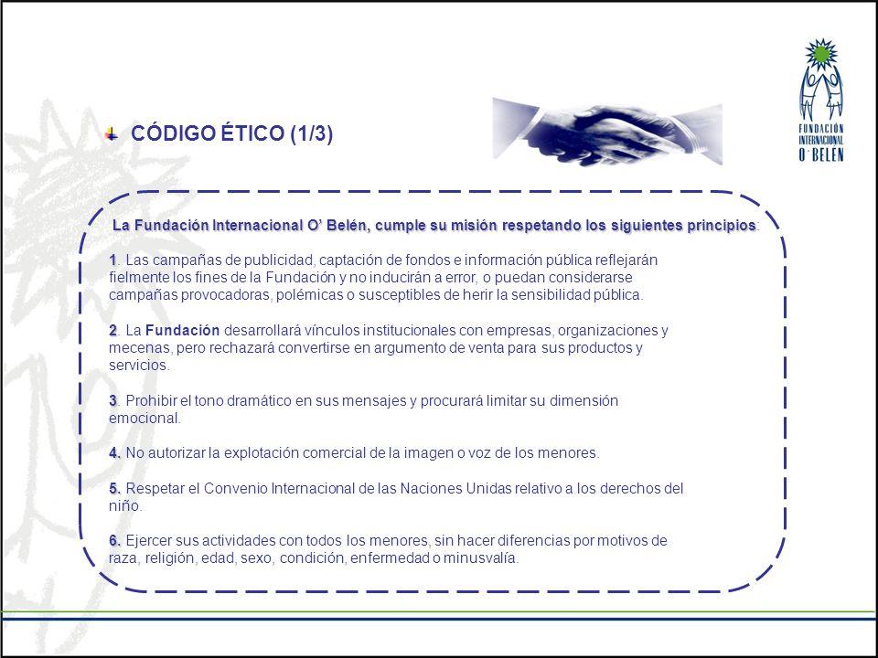 CÓDIGO ÉTICO (1/3) La Fundación Internacional O Belén, cumple su misión respetando los siguientes principios La Fundación Internacional O Belén, cumpl