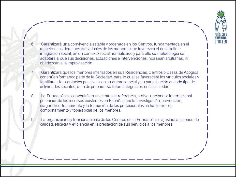 6. Garantizará una convivencia estable y ordenada en los Centros, fundamentada en el respeto a los derechos individuales de los menores que favorezca