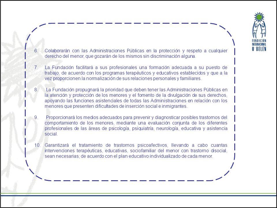 6.Colaborarán con las Administraciones Públicas en la protección y respeto a cualquier derecho del menor, que gozarán de los mismos sin discriminación