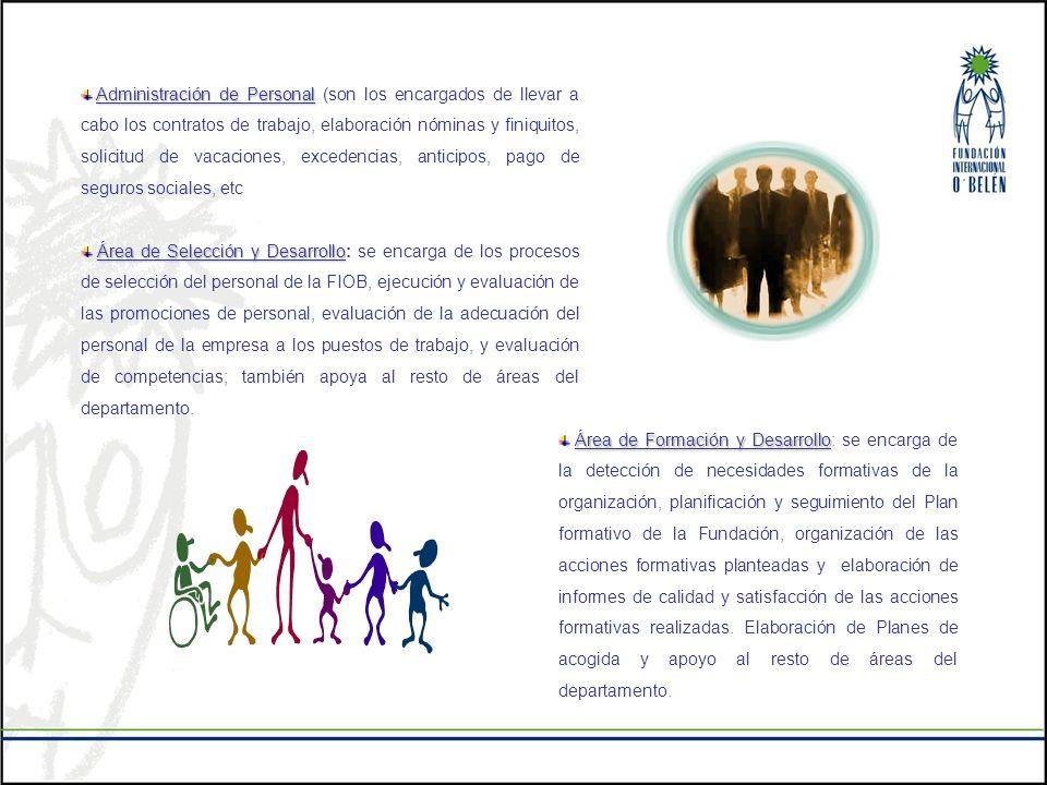 Administración de Personal Administración de Personal (son los encargados de llevar a cabo los contratos de trabajo, elaboración nóminas y finiquitos,