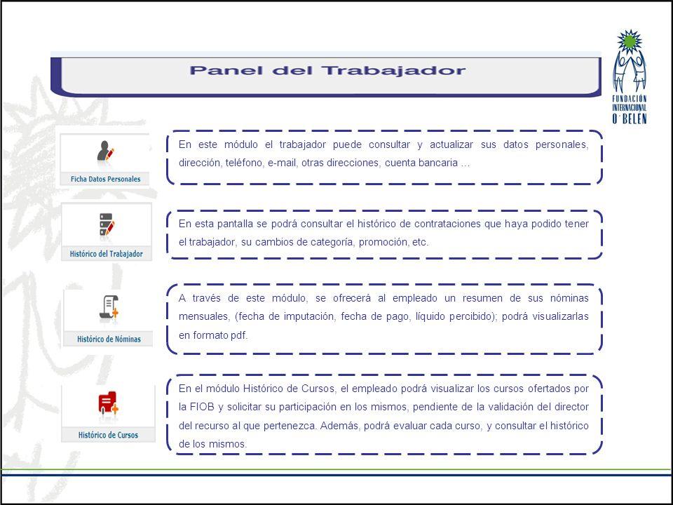 En este módulo el trabajador puede consultar y actualizar sus datos personales, dirección, teléfono, e-mail, otras direcciones, cuenta bancaria … En e