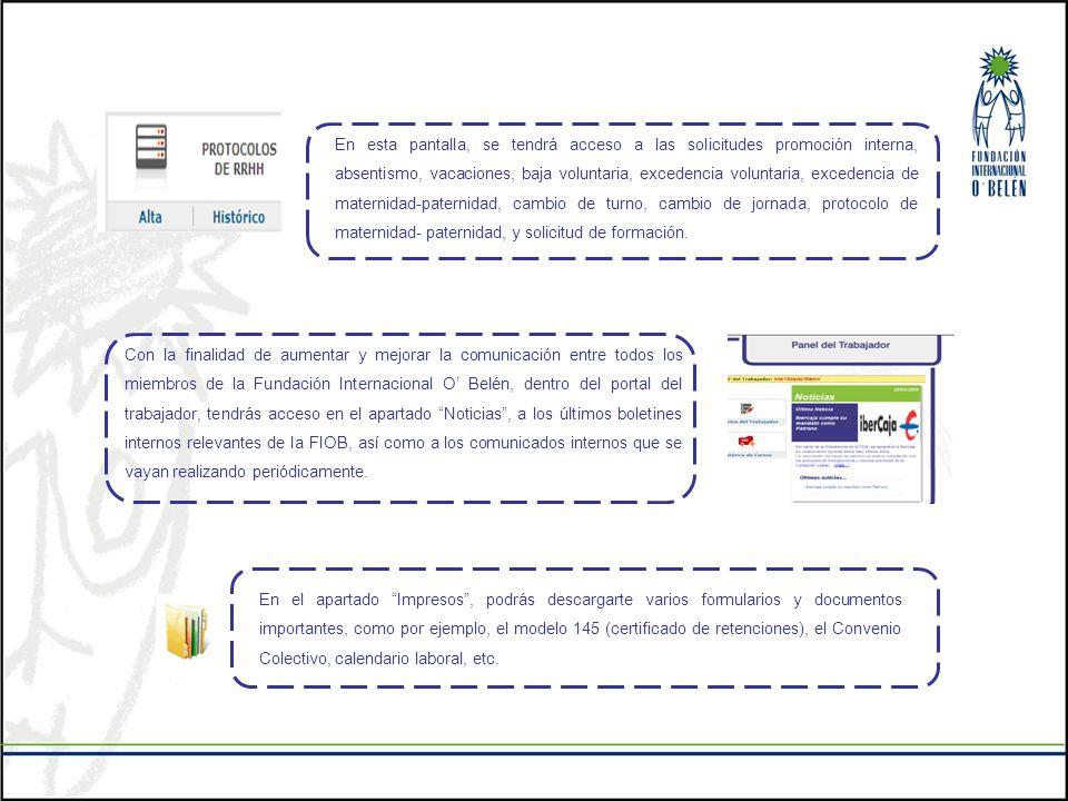 En esta pantalla, se tendrá acceso a las solicitudes promoción interna, absentismo, vacaciones, baja voluntaria, excedencia voluntaria, excedencia de