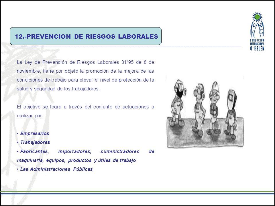 12.-PREVENCION DE RIESGOS LABORALES __________________________________________________________________________ La Ley de Prevención de Riesgos Laboral