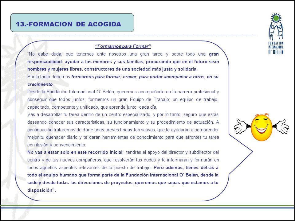 13.-FORMACION DE ACOGIDA _________________________________________________________________________ Formarnos para Formar No cabe duda, que tenemos ant