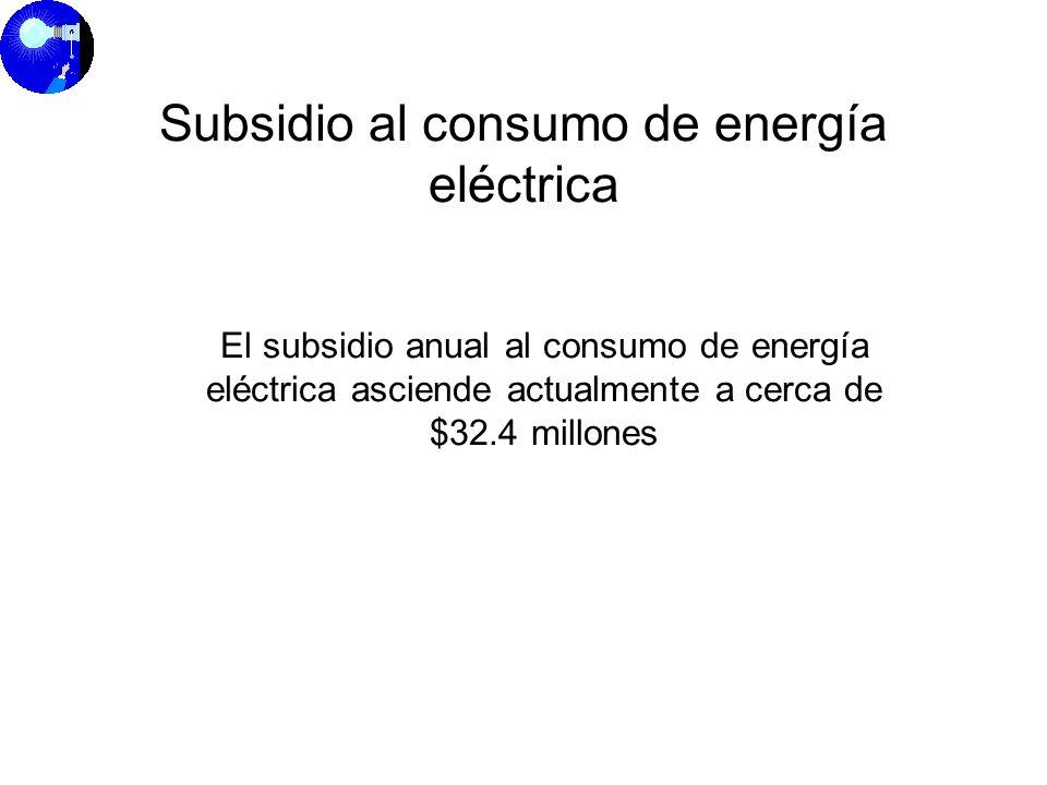 El subsidio anual al consumo de energía eléctrica asciende actualmente a cerca de $32.4 millones Subsidio al consumo de energía eléctrica