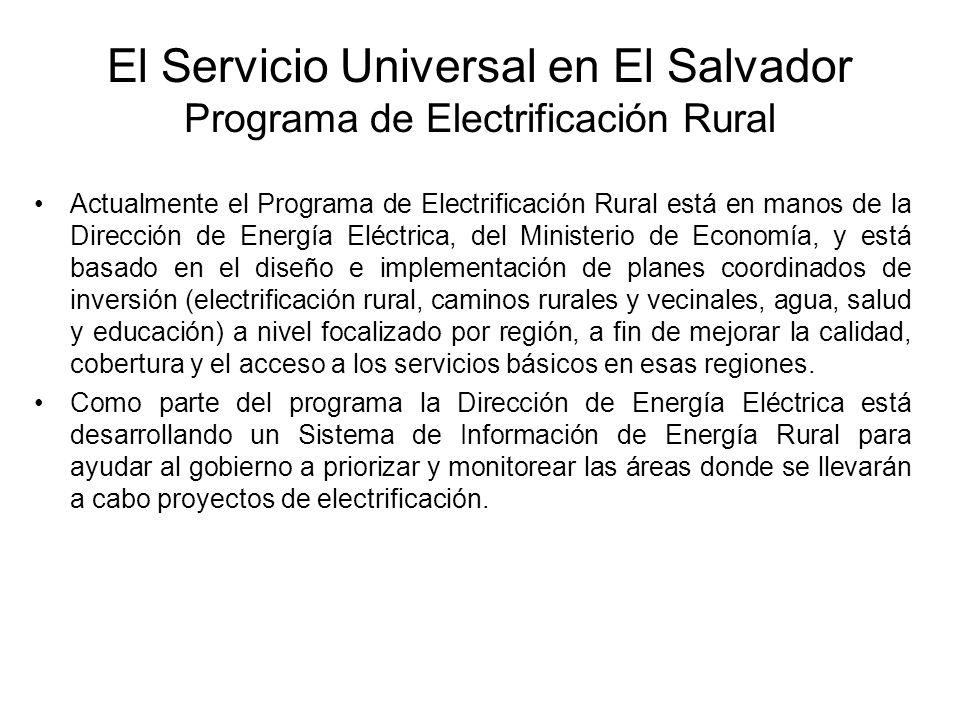 Actualmente el Programa de Electrificación Rural está en manos de la Dirección de Energía Eléctrica, del Ministerio de Economía, y está basado en el diseño e implementación de planes coordinados de inversión (electrificación rural, caminos rurales y vecinales, agua, salud y educación) a nivel focalizado por región, a fin de mejorar la calidad, cobertura y el acceso a los servicios básicos en esas regiones.