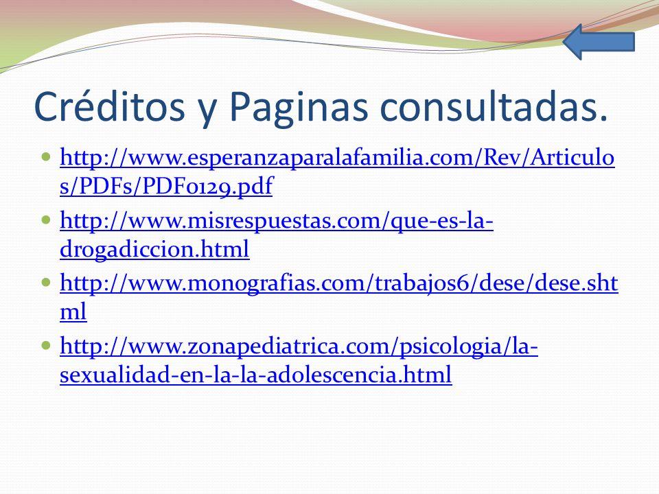 Créditos y Paginas consultadas. http://www.esperanzaparalafamilia.com/Rev/Articulo s/PDFs/PDF0129.pdf http://www.esperanzaparalafamilia.com/Rev/Articu
