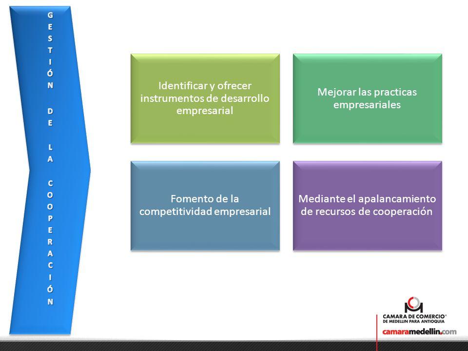 Mejorar las practicas empresariales Identificar y ofrecer instrumentos de desarrollo empresarial Fomento de la competitividad empresarial Mediante el apalancamiento de recursos de cooperación
