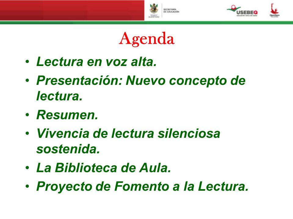 Agenda Lectura en voz alta. Presentación: Nuevo concepto de lectura. Resumen. Vivencia de lectura silenciosa sostenida. La Biblioteca de Aula. Proyect