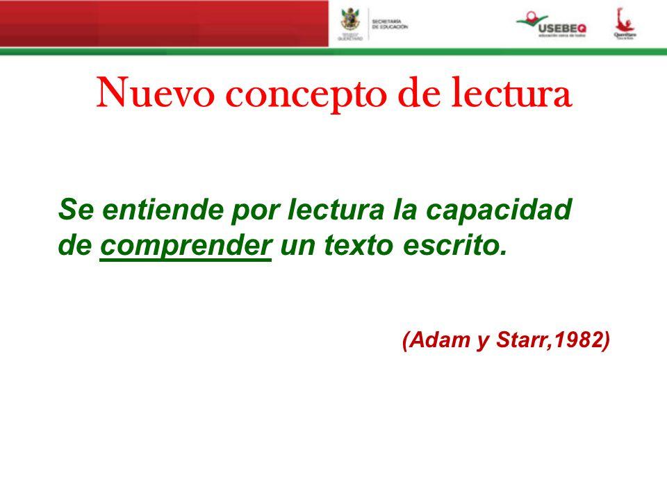 Nuevo concepto de lectura Se entiende por lectura la capacidad de comprender un texto escrito. (Adam y Starr,1982)