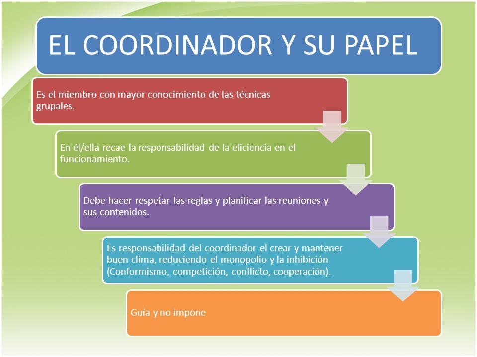 EL COORDINADOR Y SU PAPEL Es el miembro con mayor conocimiento de las técnicas grupales. En él/ella recae la responsabilidad de la eficiencia en el fu