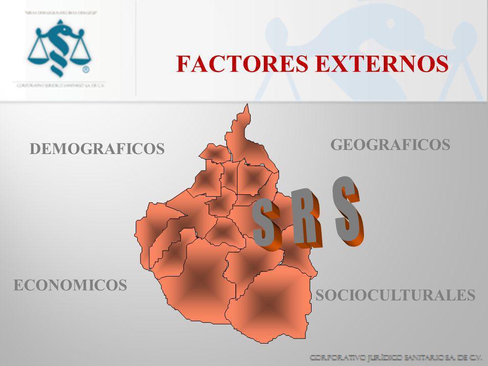 FACTORES EXTERNOS DEMOGRAFICOS GEOGRAFICOS ECONOMICOS SOCIOCULTURALES