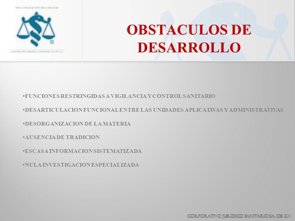 OBSTACULOS DE DESARROLLO FUNCIONES RESTRINGIDAS A VIGILANCIA Y CONTROL SANITARIO DESARTICULACION FUNCIONAL ENTRE LAS UNIDADES APLICATIVAS Y ADMINISTRATIVAS DESORGANIZACION DE LA MATERIA AUSENCIA DE TRADICION ESCASA INFORMACION SISTEMATIZADA NULA INVESTIGACION ESPECIALIZADA