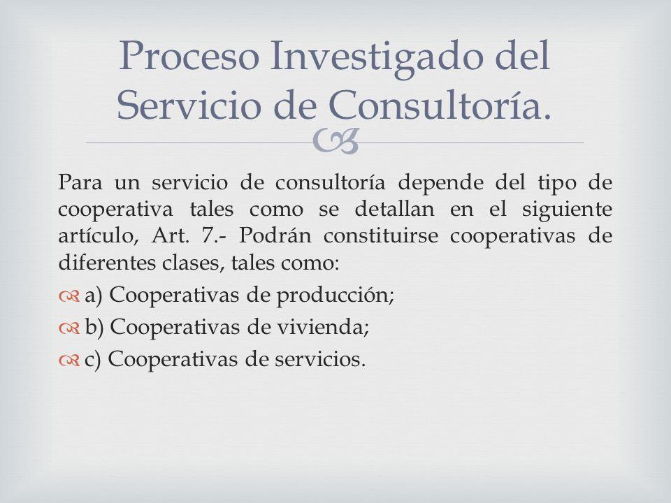 Para un servicio de consultoría depende del tipo de cooperativa tales como se detallan en el siguiente artículo, Art.