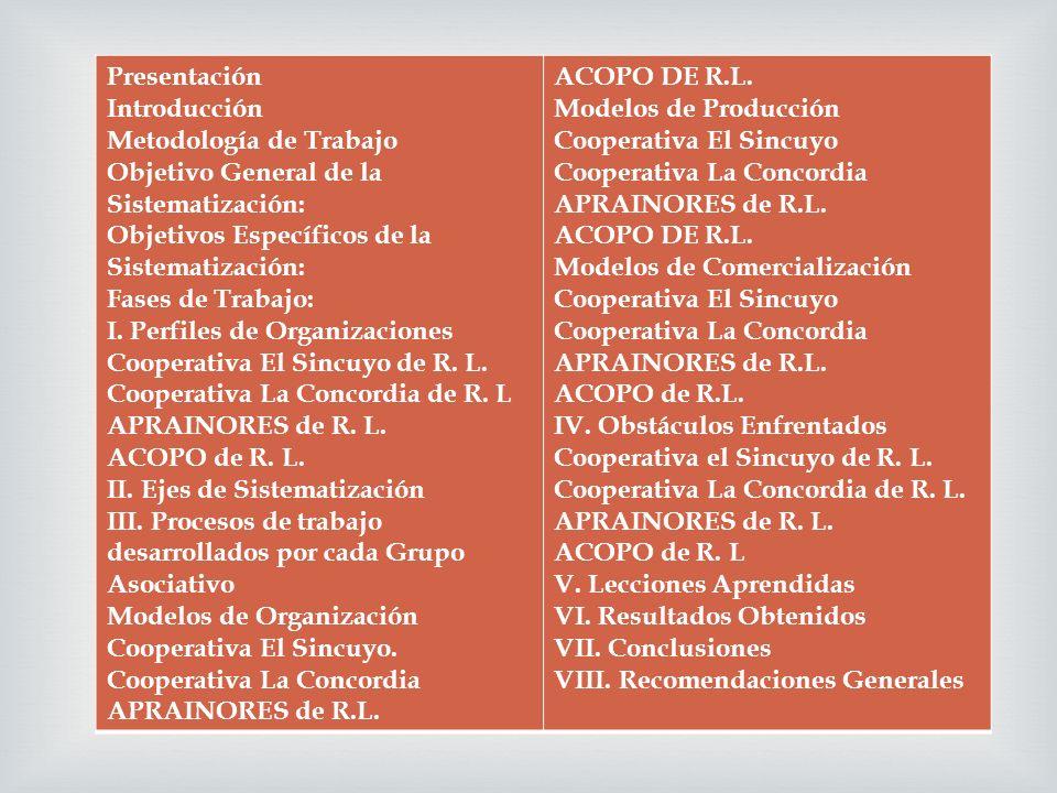 Presentación Introducción Metodología de Trabajo Objetivo General de la Sistematización: Objetivos Específicos de la Sistematización: Fases de Trabajo: I.