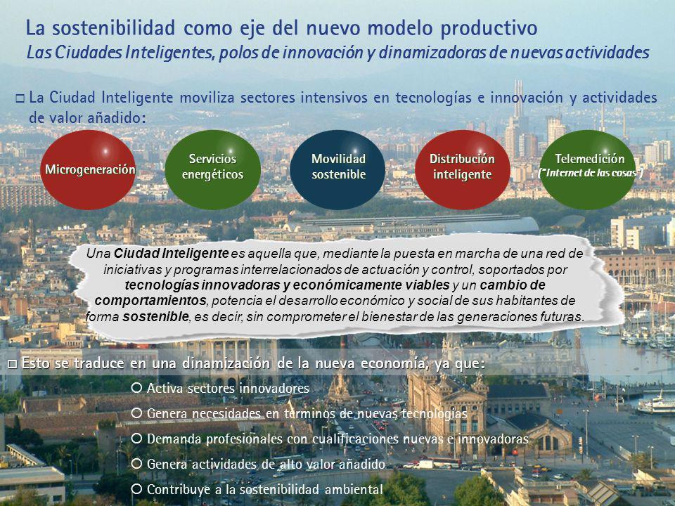 La sostenibilidad como eje del nuevo modelo productivo Las Ciudades Inteligentes, polos de innovación y dinamizadoras de nuevas actividades Una Ciudad