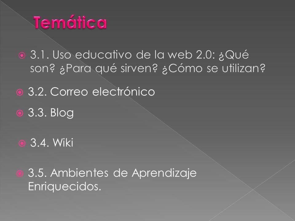 3.2. Correo electrónico 3.3. Blog 3.4. Wiki 3.5. Ambientes de Aprendizaje Enriquecidos.