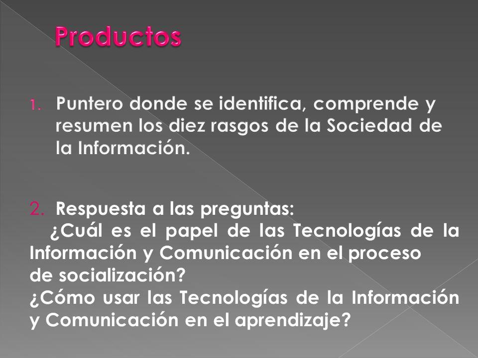 2. Respuesta a las preguntas: ¿Cuál es el papel de las Tecnologías de la Información y Comunicación en el proceso de socialización? ¿Cómo usar las Tec