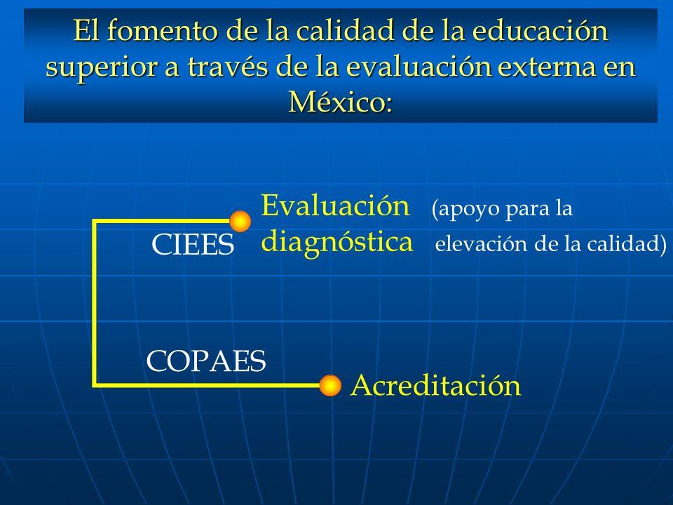 El fomento de la calidad de la educación superior a través de la evaluación externa en México: Evaluación (apoyo para la diagnóstica elevación de la c