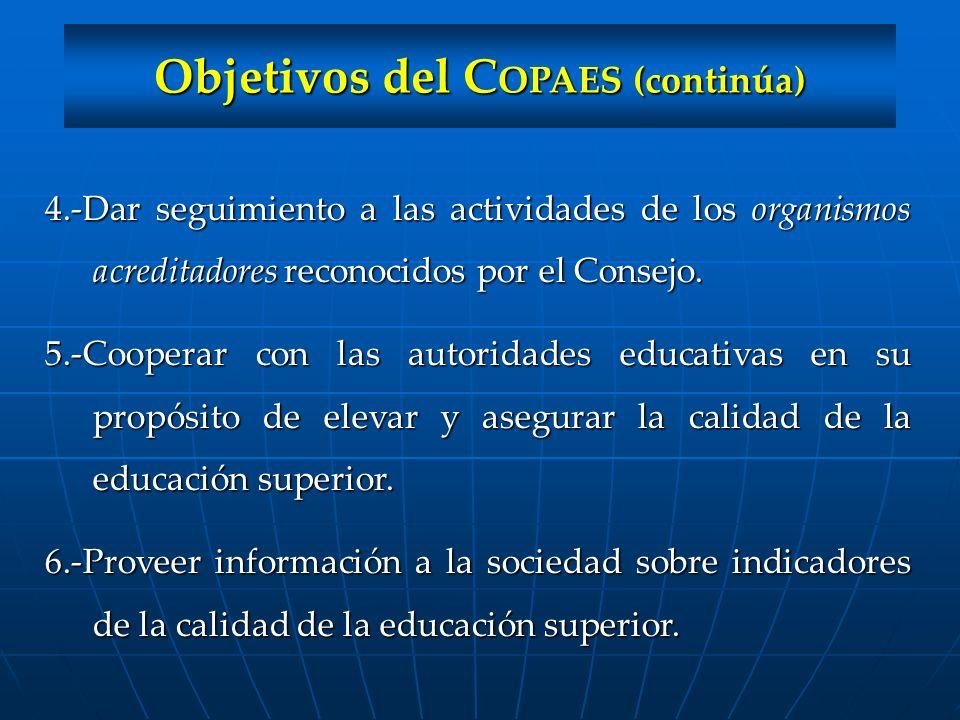 Objetivos del C OPAES (continúa) 4.-Dar seguimiento a las actividades de los organismos acreditadores reconocidos por el Consejo. 5.-Cooperar con las