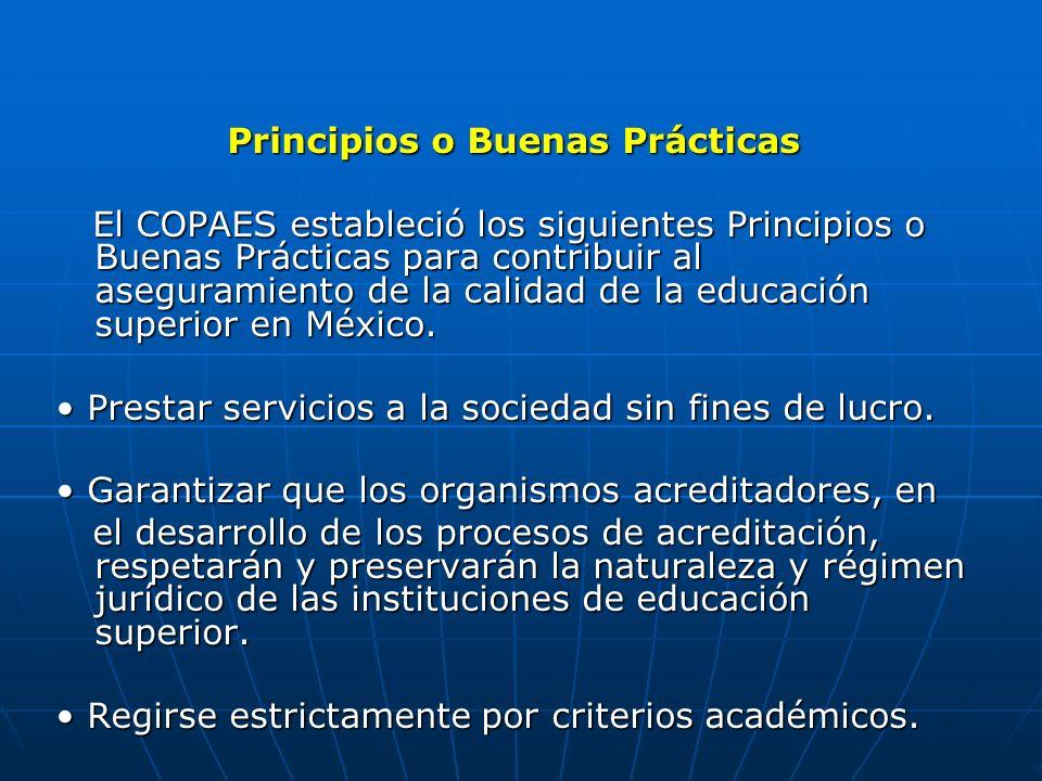 Principios o Buenas Prácticas El COPAES estableció los siguientes Principios o Buenas Prácticas para contribuir al aseguramiento de la calidad de la e
