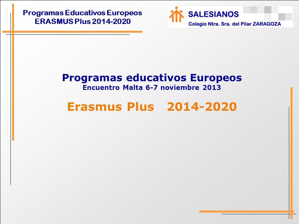 Programas Educativos Europeos ERASMUS Plus 2014-2020 ERASMUS PLUS Apuesta por la dimensión internacional.