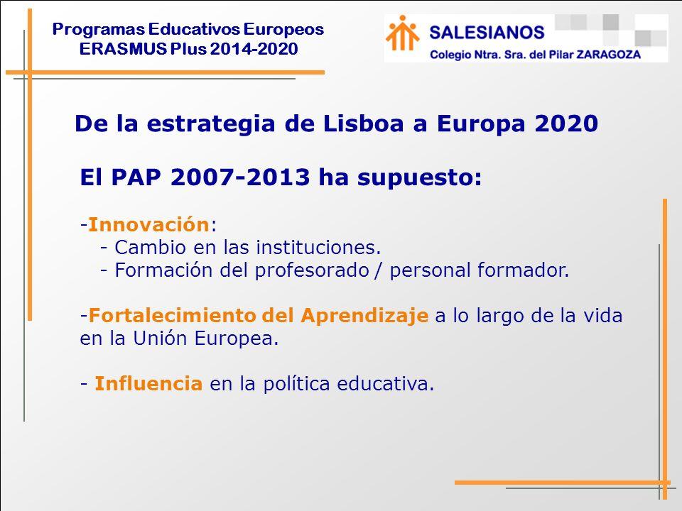 Programas Educativos Europeos ERASMUS Plus 2014-2020 El PAP 2007-2013 ha supuesto: - Primera experiencia de Europa para muchas instituciones, su personal y alumnado.