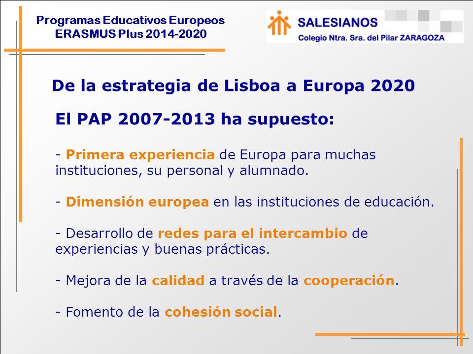 Programas Educativos Europeos ERASMUS Plus 2014-2020 Comparativa PAP Leonardos-ERASMUS PLUS